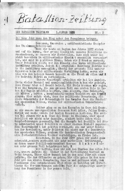 Neujahrsgruß batallion 1.1.1937